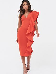 lavish-alice-draped-frill-v-neck-scuba-midi-dress-scarlet-red
