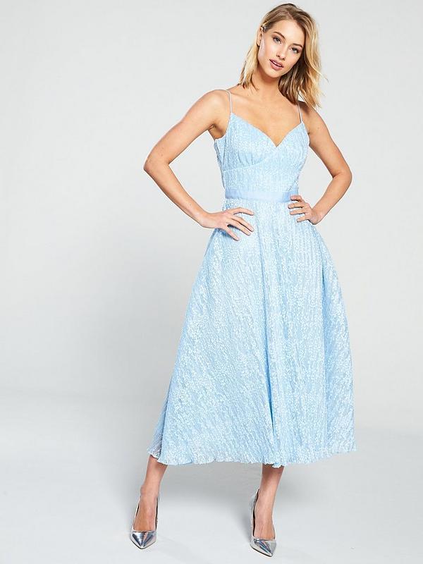 cheap for discount bright n colour pretty cool Lace Midi Skater Dress - Pale Blue