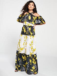 forever-unique-birdie-leaf-print-cold-shoulder-maxi-dress-multi