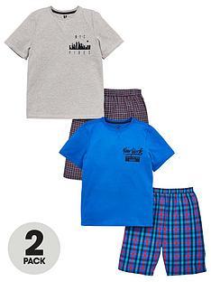 bada3ac2b V by Very Boys 2 Pack T-Shirt   Woven Checked Shorts PJ Set - Multi
