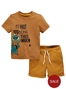 6858cc2116 Mini V by Very Boys Gecko Short Sleeve T-Shirt and Shorts Set - Tan