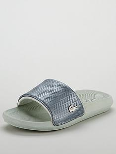 5faa9631c Lacoste Croco Slide 119 6 Cfa Flat Sandal - Silver White