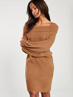 river-island-river-island-bardot-knitted-dress-brown