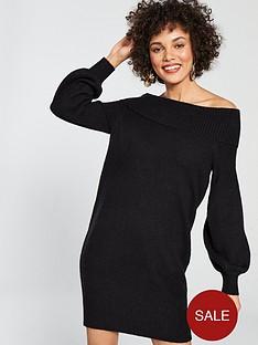 river-island-river-island-bardot-knitted-dress-black