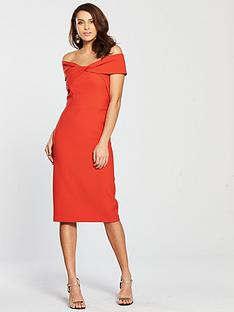 0e0333d76042e9 River Island Bardot Bodycon Dress - Red