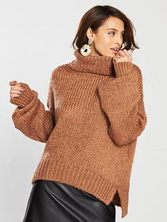 461150927c3900 River Island Roll Neck Jumper - Brown