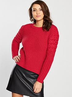 river-island-cable-knit-jumper-red