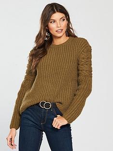 river-island-cable-knit-jumper-khaki