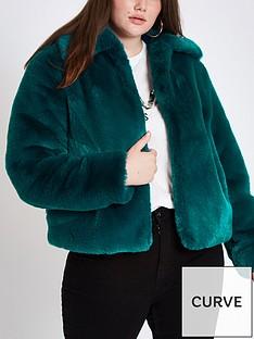 ri-plus-faux-fur-short-jacket-teal