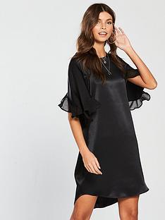 river-island-river-island-frill-sleeve-swing-dress-black