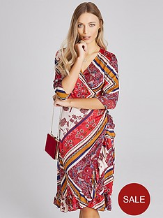 c5c841d3455 Girls on Film Midi Wrap Dress - Scarf Print