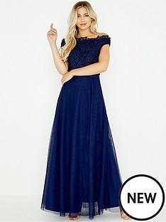little-mistress-little-mistress-crochet-trim-mesh-maxi-dress
