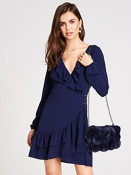 cf3d2afe Girls on Film Button Up Front Wrap Frill Dress - Navy ...