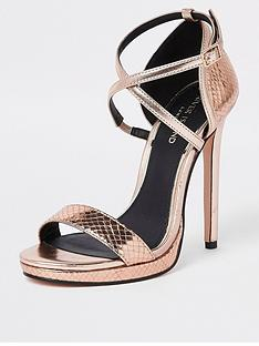 b79ed71af37 River Island River Island Cross Strap Barely There Heels - Rose Gold