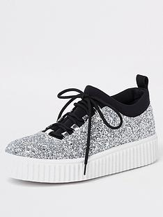 river-island-glitter-creeper-sole-trainer-silver