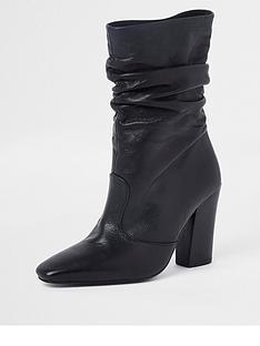 1297fbcb0bf8 River Island River Island Premium Slouch Leather Boot - Black