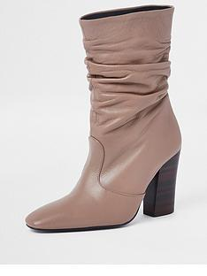 0c1e4ab6f467 River Island Premium Slouch Leather Boot - Light Pink