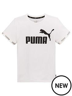 7bcf7be2ee Puma Older Boys Short Sleeve Amplified T-Shirt - White