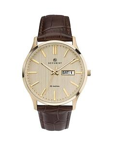 accurist-accurist-gold-textured-daydate-dial-brown-leather-strap-mens-watch