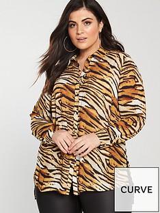 v-by-very-curve-button-through-longline-blouse-tiger-printnbsp