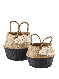 ideal-home-set-of-2-tassled-belly-baskets