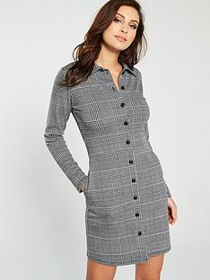 v-by-very-check-collar-jersey-dress-blackwhite