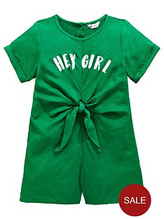b257fa01d3 Mini V by Very Girls 'Hey Girl' Knot Front Playsuit - Green