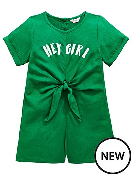 7a7ad704d Mini V by Very Girls 'Hey Girl' Knot Front Playsuit - Green |  littlewoodsireland.ie