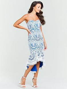 michelle-keegan-bandeau-lace-midi-dress-blue-white