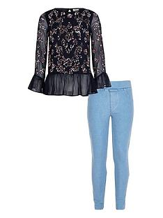 river-island-girls-navy-sequin-frill-hem-top-outfit