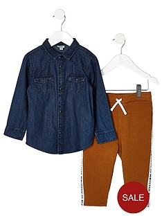 river-island-mini-mini-boys-denim-shirt-and-jogger-outfit