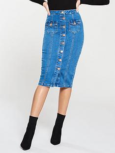michelle-keegan-button-front-denim-pencil-skirt-blue