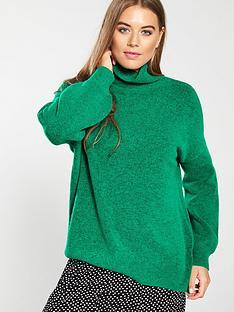 79b58ba6e38 WHISTLES Oversized Slouchy Funnel Neck Knitted Jumper - Green