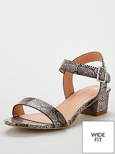 6a3269d8e302 V by Very Wide Fit Low Block Heeled Sandals - Snake
