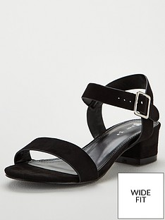 8c26e41a659 V by Very Gala Wide Fit Low Block Heeled Sandals - Black
