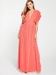 f1d1dec63e U Collection Forever Unique Ruffle Layer Sleeve Maxi Dress - Coral