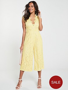 1f3f38ddb0 U Collection Forever Unique Scallop Neck Lace Jumpsuit - Yellow