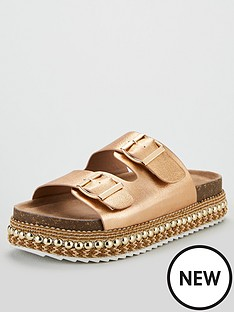 38151ffd8da7 V by Very Geonna Buckle Strap Flatform Sandals - Rose Gold