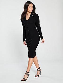 karen-millen-cut-out-popper-knit-dress-black