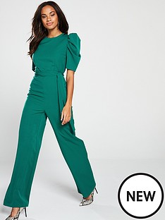 v-by-very-ruched-sleeve-jumpsuit-green