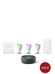philips-hue-white-and-colour-ambiance-gu10-starter-and-echo-dot-3rd-gen-black