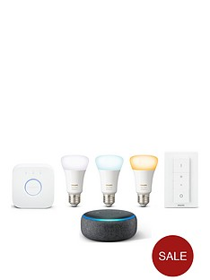 philips-hue-white-and-colour-ambiance-e27-starter-and-echo-dot-3rd-gen-black