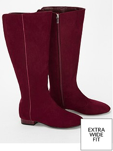 9e4c7a9ff952 Evans Extra Wide Fit Low Heel Long Boot - Berry