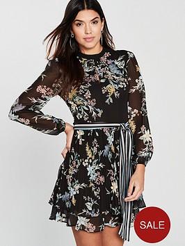 6c9c47640727 Oasis Winter Jasmine Pleated Skater Dress - Multi Black ...