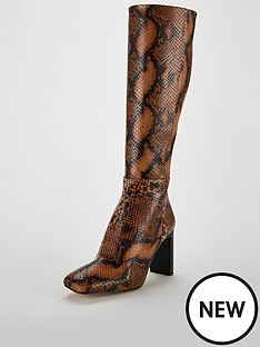 office-kobra-knee-high-snake-print-boot