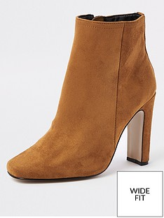 9f99d5a0038 River Island River Island Wide Fit Heel Ankle Boot - Brown