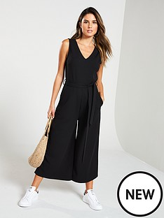 5f96a2b02952 V by Very Sleeveless Culotte Jumpsuit