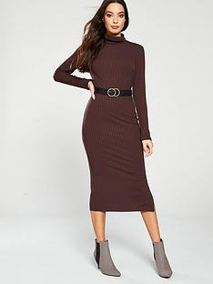 river-island-river-island-roll-neck-rib-jersey-midi-dress--brown