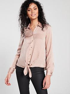 cd07a521943ff4 River Island Tie Front Shirt - Pink Jacquard