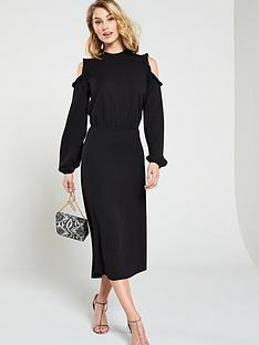 v-by-very-ruffle-cold-shoulder-dress-black